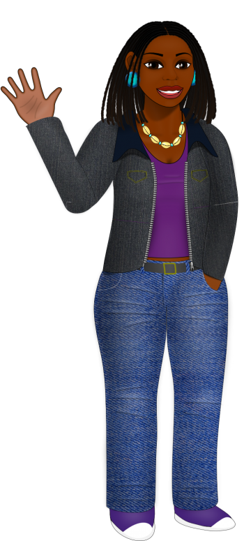 "A black woman in a denim jacket, purple shirt, and jeans.  She is waving ""hello."""