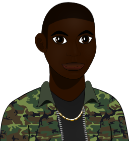 Chike in a camoflauge jacket